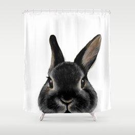 Netherland Dwarf rabbit Black, illustration original painting print Shower Curtain