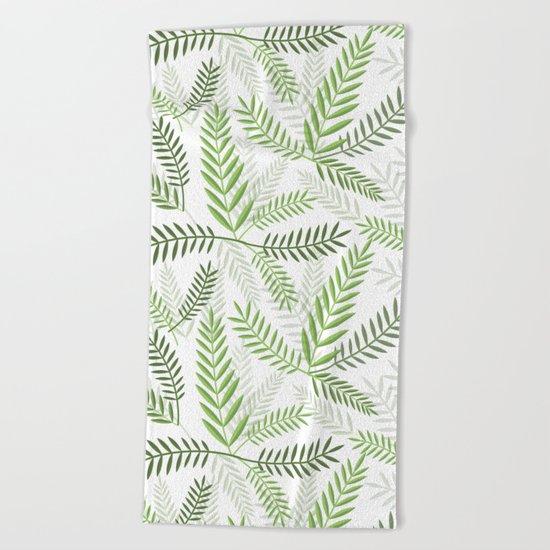 GREEN LEAVES ON WHITE Beach Towel