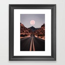 Road Red Moon Framed Art Print