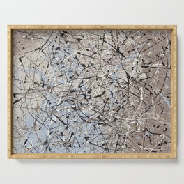 High Again - Jackson Pollock style abstract drip painting by Rasko Serving Tray