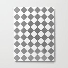 Large Diamonds - White and Gray Metal Print