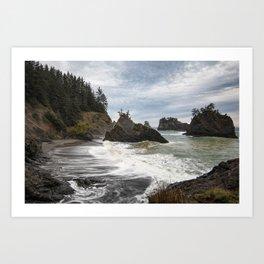 Secret Beach on Overcast Day Art Print