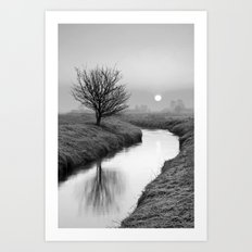 Misty Sunrise On The River Art Print