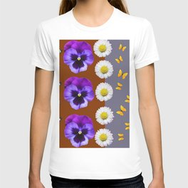 BROWN & PURPLE PANSY WHITE DAISY BUTTERFLIES SPRING T-shirt