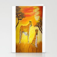 tigers Stationery Cards featuring Tigers Sun by ArtSchool