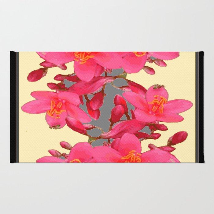 BLACK-PINK FLOWER BLOSSOMS YELLOW SPRING ART Rug