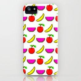 Retro Video Game Fruit Medley Pixel Art iPhone Case