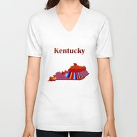 kentucky V-neck T-shirts featuring Kentucky Map by Roger Wedegis