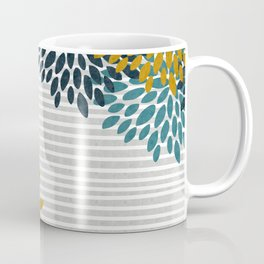 Floral Blooms and Stripes, Navy Blue, Teal, Yellow, Gray Coffee Mug