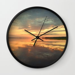 Sky in the brightly lit twilight of sunset Wall Clock