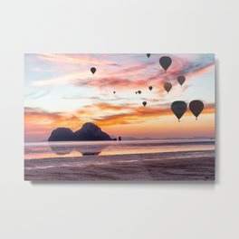Hot air balloons over Hua Hin beach, Trang, Thailand Metal Print
