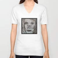 bad wolf V-neck T-shirts featuring Bad Wolf  by Chrissie Brown Art