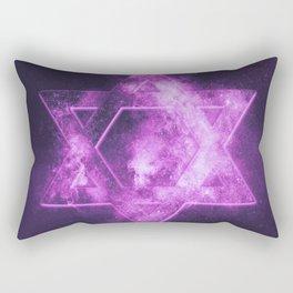 Magen David symbol, Star of David. Abstract night sky background. Rectangular Pillow