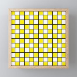 Checkered Outlined Yellow and Black Framed Mini Art Print