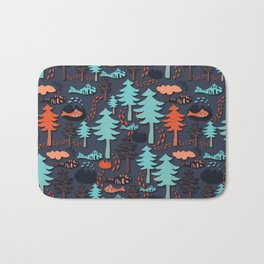 Fishes in the wood Bath Mat