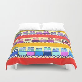 Colorful trains with Christmas gifts Duvet Cover