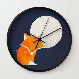 Origami Fox and Moon Wall Clock