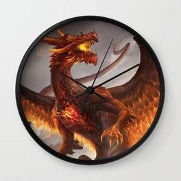 Red Crystal Dragon Wall Clock