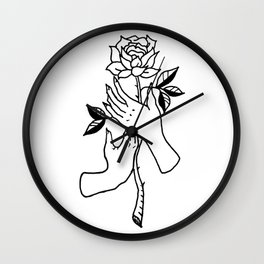 Hands Holding Rose Design — Hands & Rose Stem Illustration Wall Clock