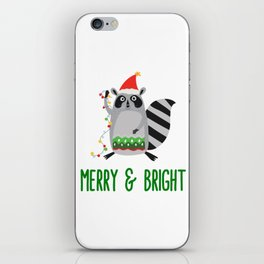 Merry & Bright Racoon with Christmas Lights iPhone Skin