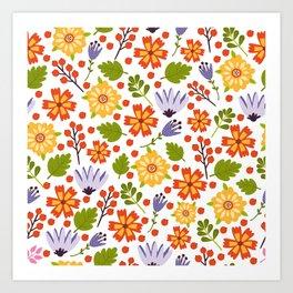 Sunshine yellow lavender orange abstract floral illustration Art Print