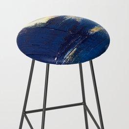 Halo [2]: a minimal, abstract mixed-media piece in blue and gold by Alyssa Hamilton Art Bar Stool