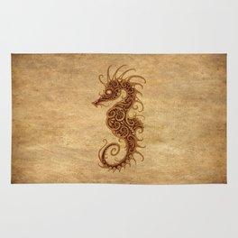 Aged Vintage Intricate Tribal Seahorse Design Rug