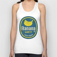 sticker Tank Tops featuring Banana Sticker On Yellow by Karolis Butenas