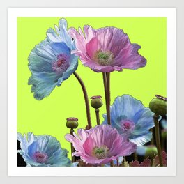 AWESOME PINK & BLUE POPPY GREEN  GARDEN FLOWERS Art Print