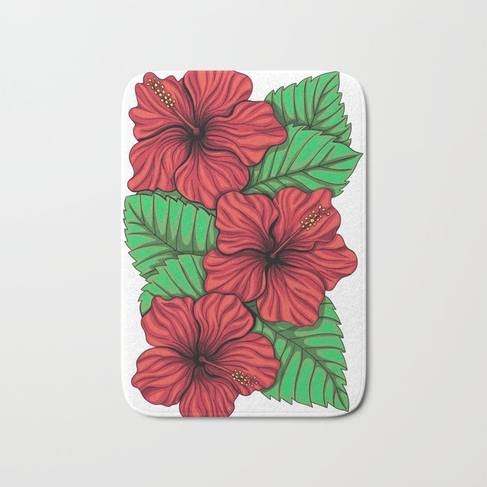 Bouquet of hibiscus flower and tropical leaves Bath Mat