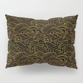 Golden Waves in Black Pillow Sham