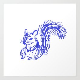 bluepen drawing - D Art Print