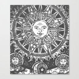 B&W Moon & Sun Canvas Print