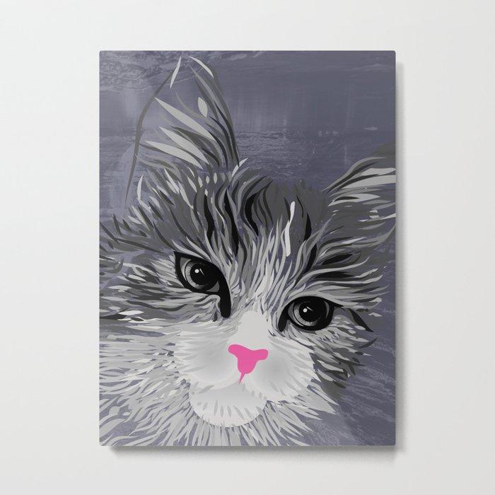Gray Cat with Pink Nose Metal Print