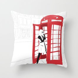 London Calling Fashion Phone Booth Girl Throw Pillow