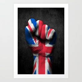 Union Jack Flag of The United Kingdom on a Raised Clenched Fist Art Print