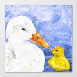 Duck and Chick Canvas Print