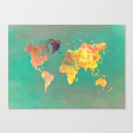 world map 103 #worldmap #map Canvas Print