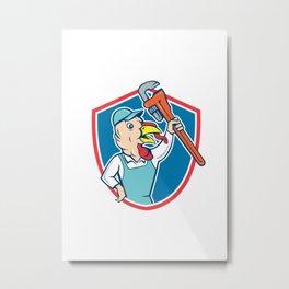 Turkey Plumber Monkey Wrench Shield Cartoon Metal Print