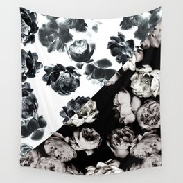 Black & White Floral Pattern Wall Tapestry