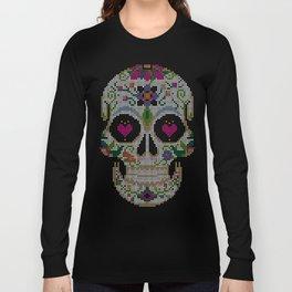 Create a Real Stitchery - Pixel Art - Day of the Dead, Cinco de Mayo, Calavera, Dia de los Muertos Long Sleeve T-shirt