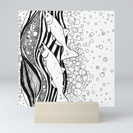 Northwest Salmon in Black and White Mini Art Print