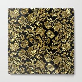 Black & Shiny Gold Vintage Floral Damasks Metal Print