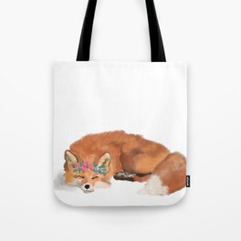 Fox, flower crown, fox art, fox watercolor Tote Bag