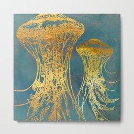 Deep Sea Life Jellyfish Metal Print