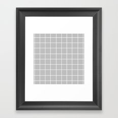 Grid (White/Silver) Framed Art Print