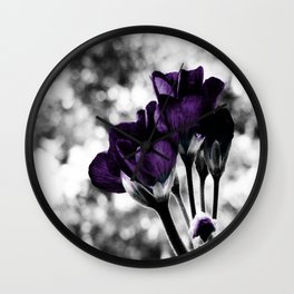 Purple Flowers Pop Of Color Wall Clock