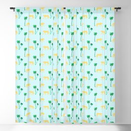 Animal Print Yellow Cheetah under Green Palm Trees on Muted Blue Background Blackout Curtain