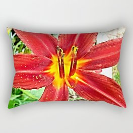 Red Day Lily Rectangular Pillow