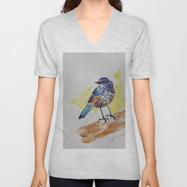 Himalayan Bluetail Bird- in watercolor Unisex V-Neck